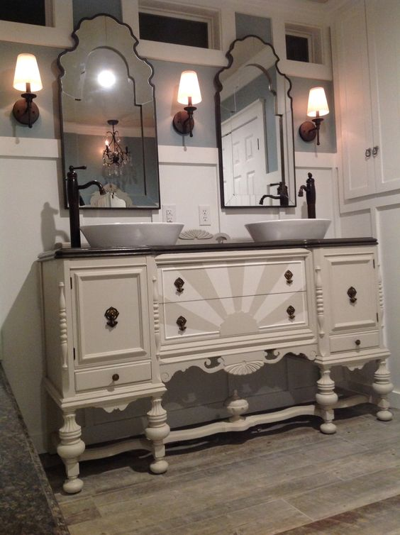 Our antique sideboard buffet repurposed into a  bathroom vanity by my fabulous hubby! #curiouscraftsman