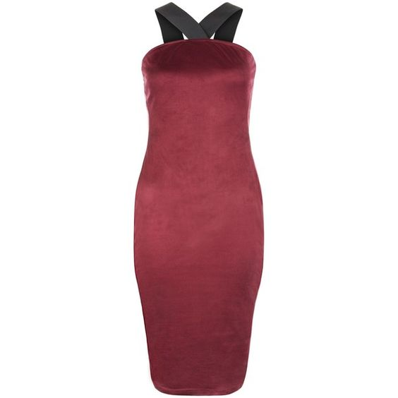 AX Paris Dark Red Suedette Strappy Dress ❤ liked on Polyvore featuring dresses, red dress, holiday party dresses, red midi dress, red halter dress and midi cocktail dress