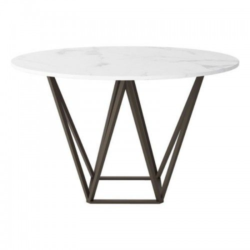 Brass Geometric Base White Marble Top Dining Table Marble Top