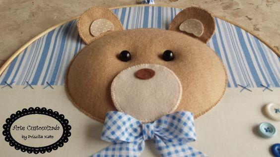 Quadro Porta Maternidade Bastidor Urso