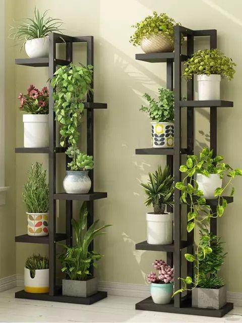 En Bois Plante Coin Fleur Présentoir pot étagère étagère de rangement intérieur//extérieur