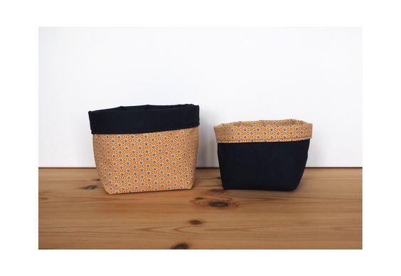 Paniers de rangement en coton japonais saki jaune et coton uni bleu marine / vide-poche / corbeilles
