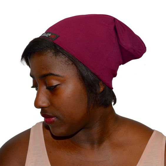 Wine--ELASTIC BAND Satin Lined Hat