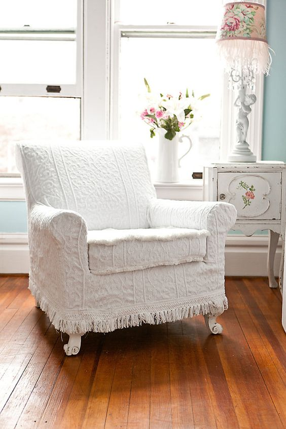antique chair white vintage matelasse bedspread shabby chic cottage slipcover cottage chenille:
