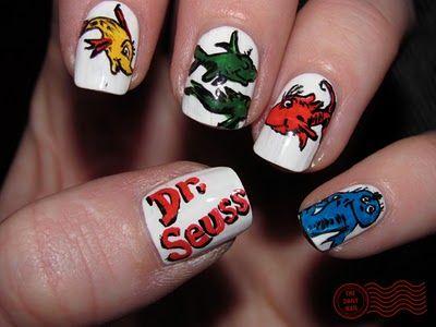 Dr. Seussical!: Fish Blue, Seuss Nails, Nail Design, Suess Nail, Dr Suess, Dr. Seuss, Dr Seuss, Blue Fish