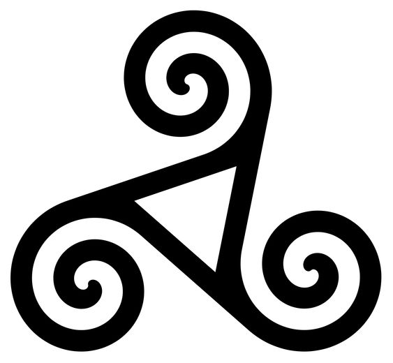 Ejemplo de triskele. El número tres aparece constantemente en la mitología celta.