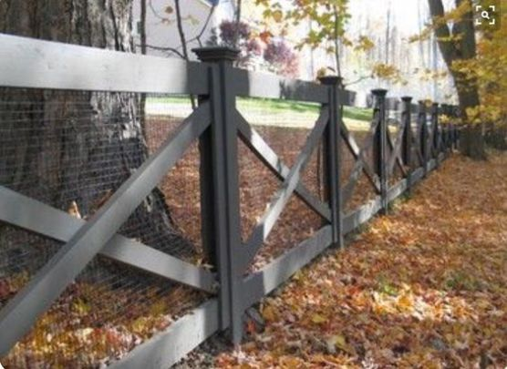 This fence isn't that expensive but it's also nice looking too. It has the wood frame with cross beams to improve security and durability with wire stretched over to keep out animals.