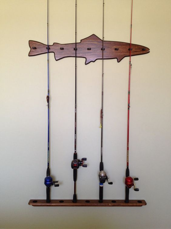 Handmade fishing rod holder rack for 9 rods fishing for Homemade fishing rod storage ideas