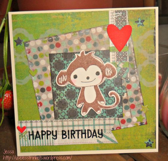 Äffchenaction BasicGrey Monkey Birthday Card