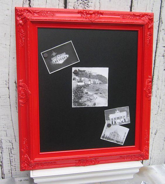 Home Decor Chalkboard: FRAMED CHALKBOARD Magnetic Red Furniture Wall Home Decor
