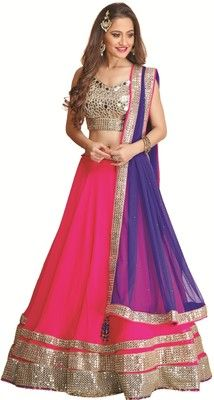 Meena Bazaar Self Design Women's Lehenga Choli - Buy Magenta Meena ...