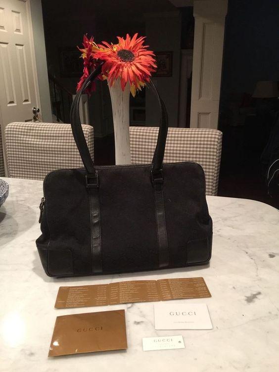 Authentic GUCCI GG Canvas  Leather Tote Bag Black  #GUCCI #TotesShoppers