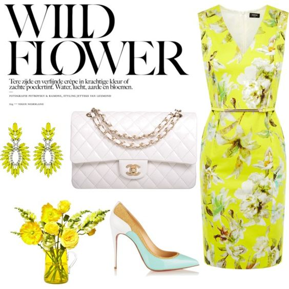 Wild Flower by mamagez21 on Polyvore featuring polyvore, fashion, style, Oasis, Christian Louboutin, Chanel and Elizabeth Cole