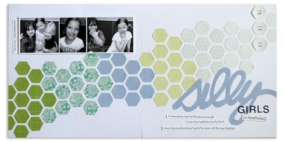 Hexagon Place 'n' Punch Scrapbook Layout Page Idea from Creative Memories  www.creativememor...