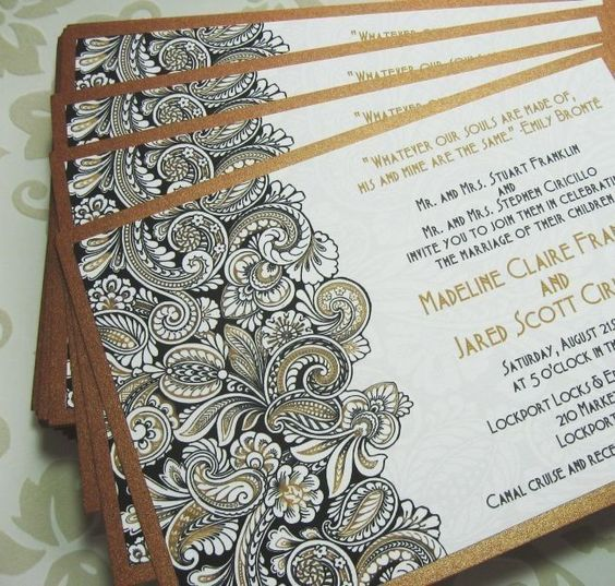 Gold Paisley Wedding Invitations Black and White and gold – Wedding Invite Card Stock