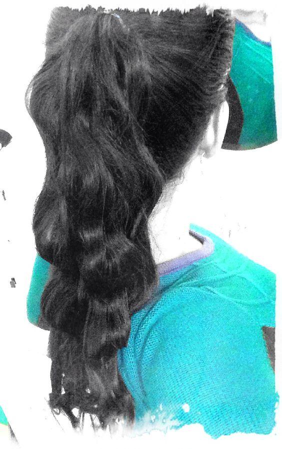 Pony tail waves. Cabello negro largo con ondas