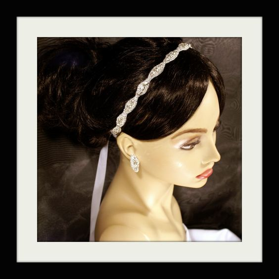 Sale- 29.99 READY NOW to Ship Bridal Headband Rhinestone Ribbon Wedding Best Seller Crystal Beaded WHITE Audrey 1 by L Wilson. $29.99, via Etsy.