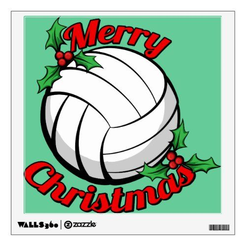 Volleyball Merry Christmas Wall Sticker In 2020 Volleyball Christmas Volleyball Christmas Gifts Christmas Wall Stickers