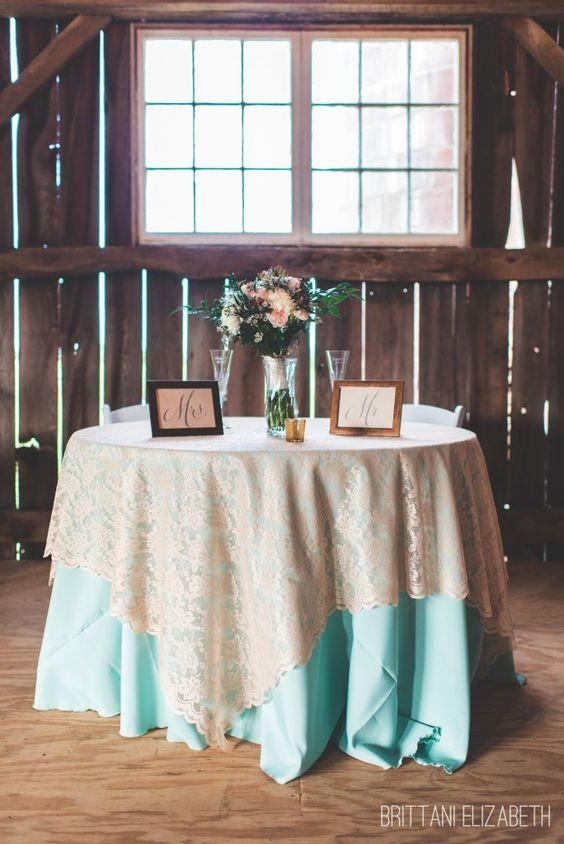Sweetheart Table | Mint and Coral Wedding | Mr. & Mrs. | Barn Wedding | Brittani Elizabeth Photography
