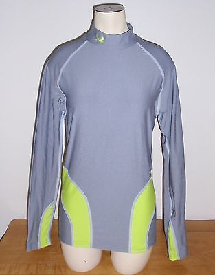 Under Armour ColdGear Womens Large L Mock Long Sleeve Shirt- Green Gray EUC