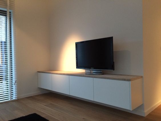 zwevende tv kast ontwerp en vervaardigd door www. Black Bedroom Furniture Sets. Home Design Ideas