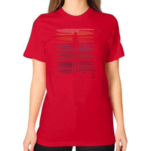 Space shuttle launch geometric lineart Unisex T-Shirt (on woman)