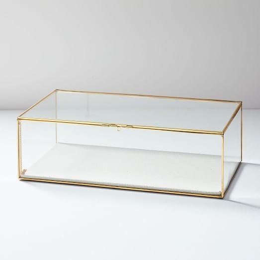 Mid Century Jewelry Box Large Champagne Lacquer Glass Shadow Box Jewelry Organizer Box Modern Jewelry Box