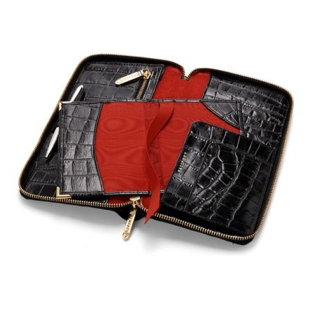 Zipped Travel Wallet with Passport Cover in Black Croc & Red Suede from Aspinal of London