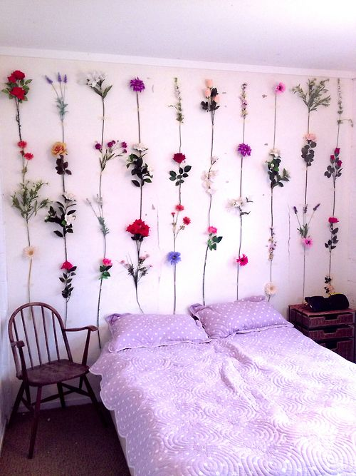 pretty hipster vintage room bedroom design bed flowers purple Interior Design l roses classy chair simple white bedroom
