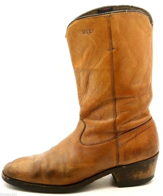 Dingo mens cowboy boots size 9.5 D light brown tan western leather