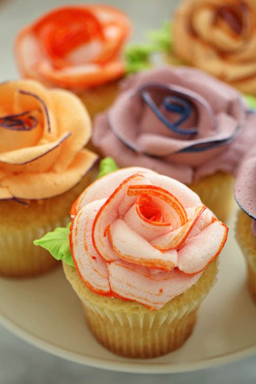 Two-Tone Icing Rose Topped Cupcakes.: Flower Cupcake, Icing Rose, Cup Cake, Rose Cupcake, Piped Rose