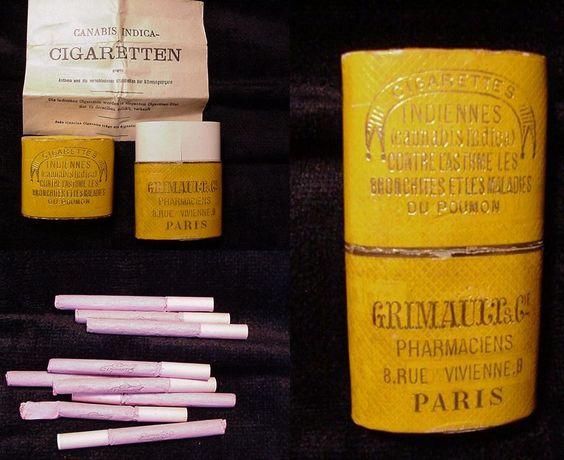 Les cigarettes à la marijuana étaient proposées dans toutes les pharmacies pour soulager et soigner de nombreux maux et maladies, tels que l'asthme, l'épilepsie, l'hystérie, les douleurs dentaires, les spasmes, les palpitations cardiaques, la fibromyalgie.... ou même simplement pour exercer une influence relaxante sur l'ensemble du système nerveux.