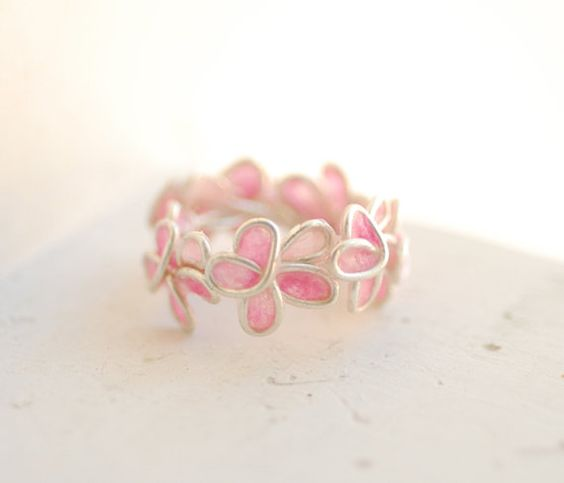 Pink Forget Me Not Ring Sterling Silver Paper by TaylorsEclectic,