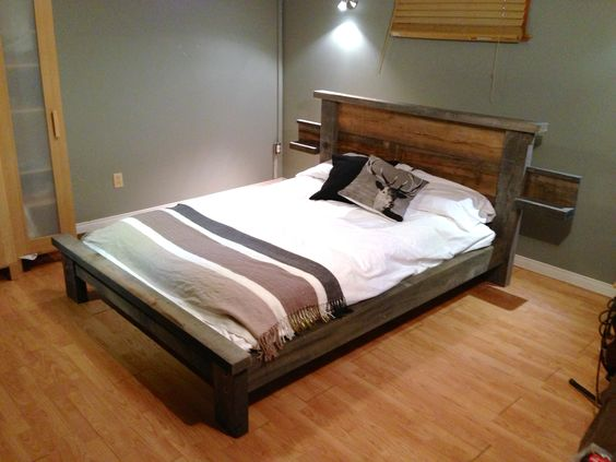 Base Lit Double En Bois : Base de lit bois de grange lit Pinterest