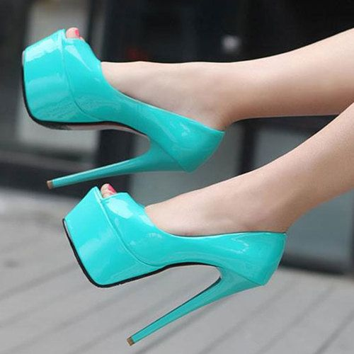 4Colors Women Sexy Open Toe Pumps 15cm High Heel Shoes Platform