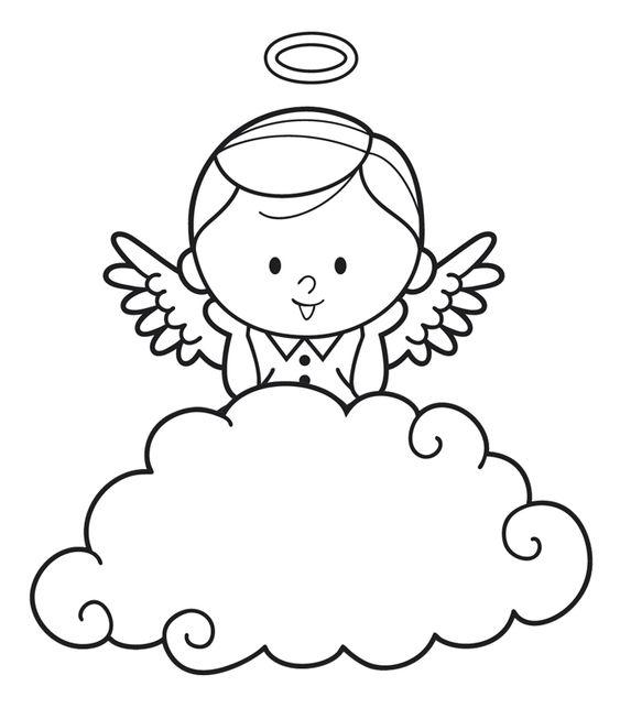 Ausmalbild Engel: Kostenlose Malvorlage: Engel hinter einer Wolke ...
