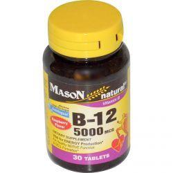 Mason Vitamins, Vitamin B-12, Raspberry Flavor, 5000 Mcg