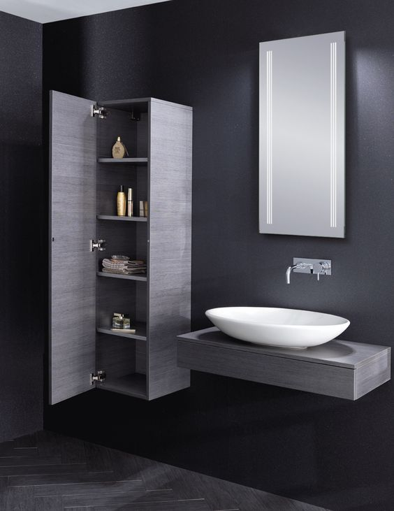 Bauhaus Countertop Wall Hung Vanity Basin 39 Edge 39 In Steel With Matching Bathroom Storage Cabinet