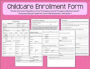 Childcare Enrollment Form Washington Home And Parent