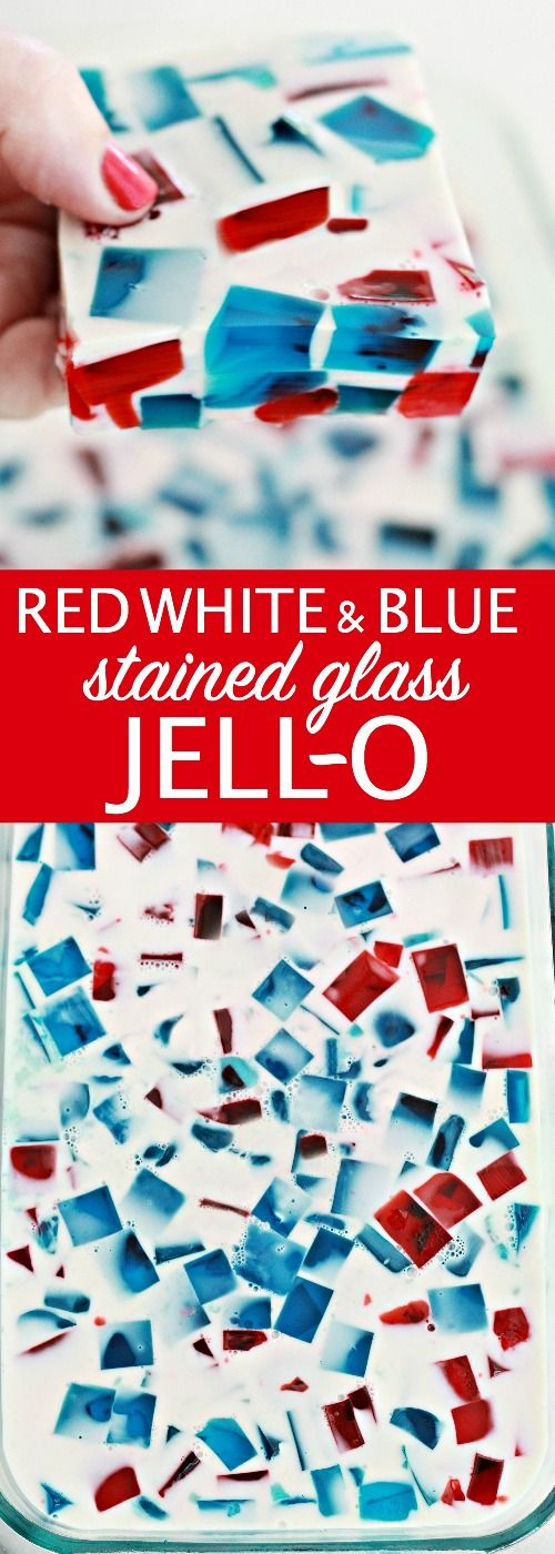 Easy Red White and Blue Stained Glass Jell-o. Perfect dessert idea for your 4th of July or Memorial day celebration.
