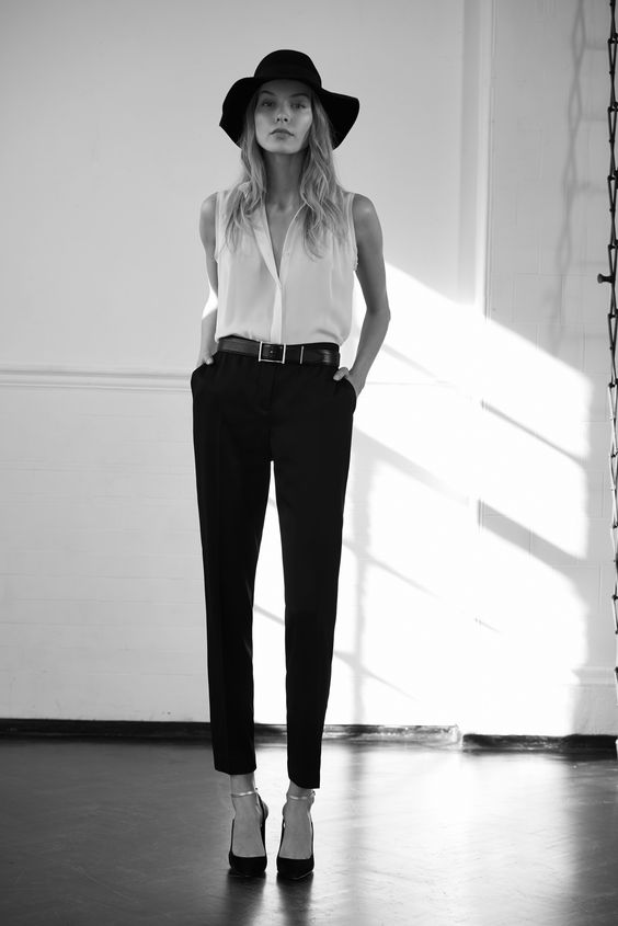 Womenswear Tailoring The Modern Edit :: When worn with directional accessories, black trousers are as on-point as they are classic. Cue a statement hat and chunky belt