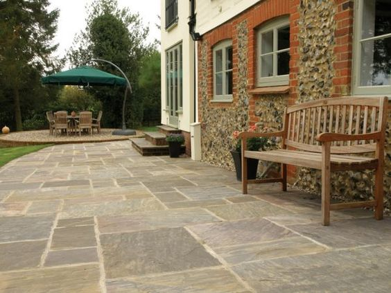 Volcanic Ash rustic paving slabs from the AWBS Exclusive Indian Sandstone paving collection. #IndianSandstonePaving
