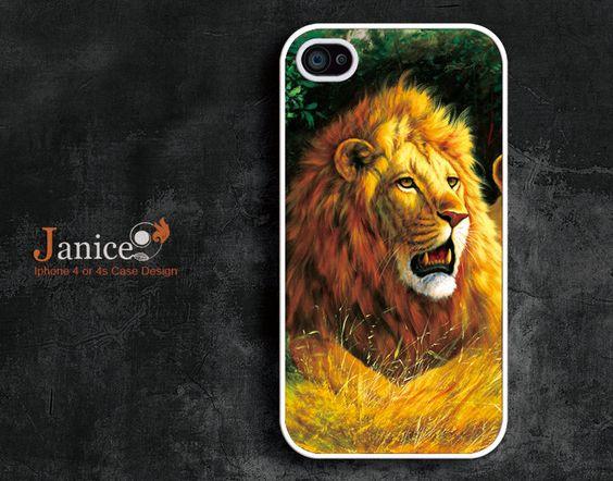 unique Iphone case design iphone 4 case iphone 4 protector verizon  iphone 4s case iphone 4 cover painting Lion. $13.99, via Etsy.