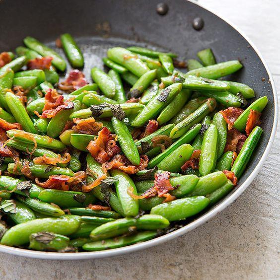 Sugar Snap Peas with Bacon and Shallots