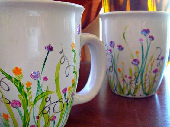 Coffee mug sets two hands and mugs set on pinterest for Coffee painting ideas