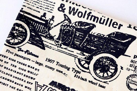 Vintage Newspaper Cotton Fabric Retro Balloon by Gideonstudio