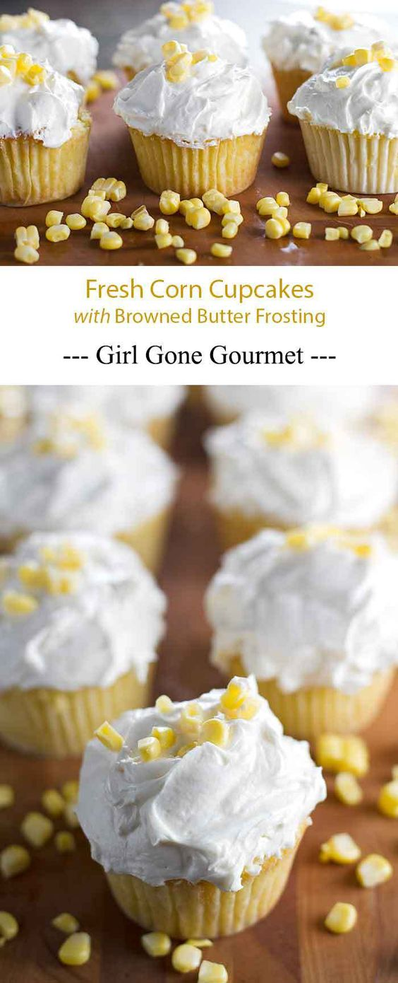 Sweet corn cupcakes topped with a rich and buttery frosting | girlgonegourmet.com