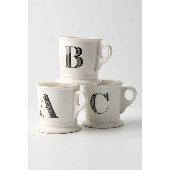 Monogram Mug (€7,28) ❤ liked on Polyvore featuring home, kitchen & dining, drinkware, mug, anthropologie, monogram, coffee, kitchenware, white and monogram mug