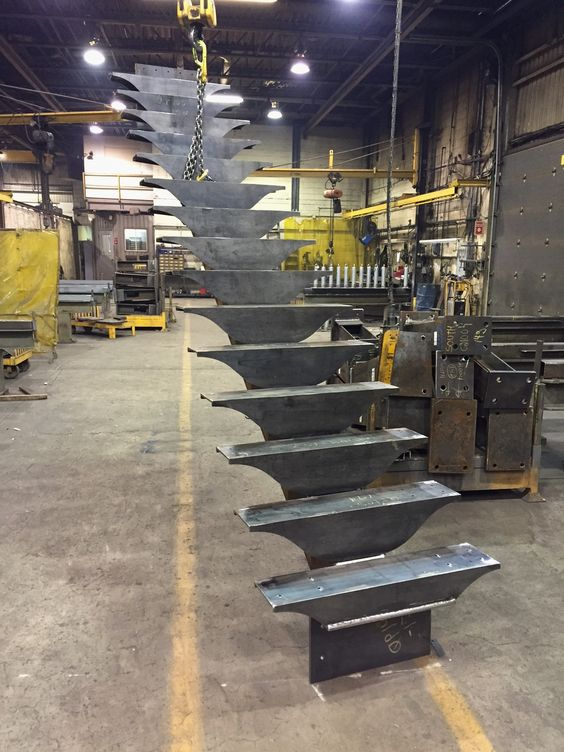 Main floor stairs under construction: custom fabricated in Quebec.