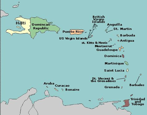 Map Of Caribbean With Countries Labeled Cycle Week - Us and caribbean map